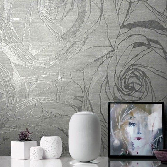Embossed Wallpaper Gray Silver Gold Metallic Textured Floral Modern Large Roses Wallcoverings