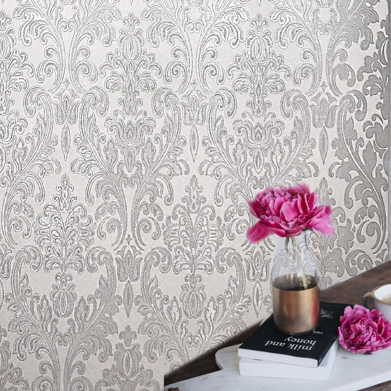 Embossed Modern Roll Wallcoverings Victorian Damask Pattern Etsy