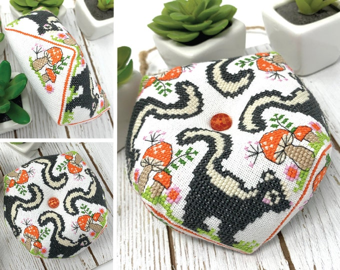 Tiny Modernist Skunk Biscornu cross stitch pattern