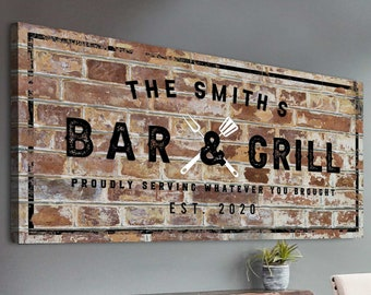 Bar And Grill Sign Custom Last Name Bar Sign Father's Day Gift Established Date Bar Sign Rustic Bar Wall Décor Basement Bar Home Wall Décor