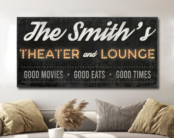 Rustic Family Cinema Vintage Style Theater Custom Name Sign Home Decor Bedroom Living Room Large Wall Art Housewarming Gift