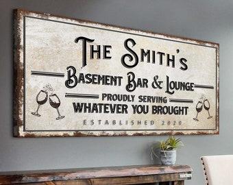 Basement Bar And Lounge Sign Rustic Basement Bar Wall Décor Personalized Family Name Bar Established Bar Sign Home Canvas Bar Wall Decor
