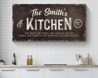 Personalized Kitchen Sign, Moms Kitchen Sign for Kitchen, Kitchen Wall Decor Farmhouse Kitchen Wall Decor Dining Room Sign for Kitchen