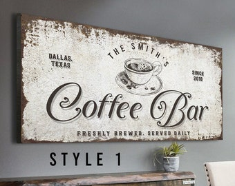 Coffee Bar Sign Freshly Brewed Coffee Beans Artwork Large Wall Art Coffee Station Sign Personalized Housewarming Gift for Coffee Lovers
