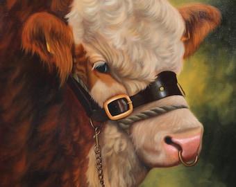 Simmental Bull Farm Cattle Canvas Wall Art Picture Print Artist Keith Glasgow
