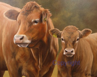 Limousin Cow and Calf Canvas Picture Print artist Keith Glasgow Farm Animal