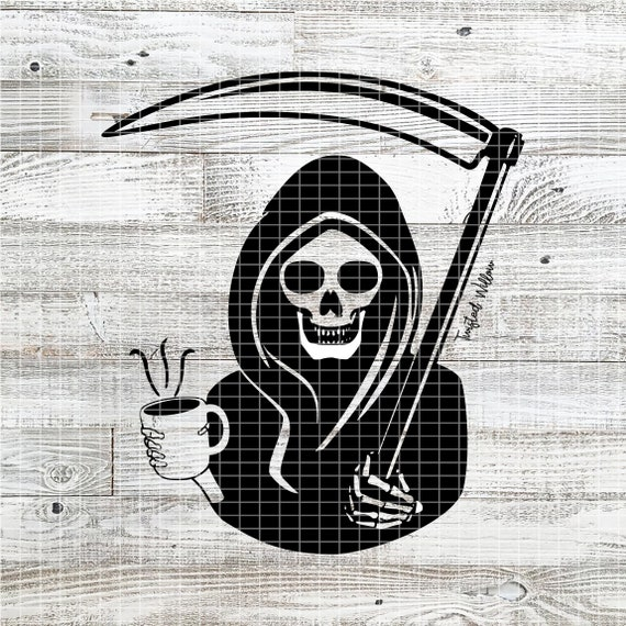 Grim Reaper Holding Coffee Svg Png Pdf Dxf Etsy