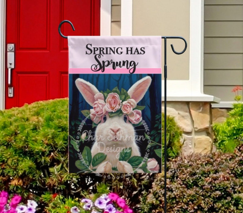 Spring has Sprung Bunny Sublimation Designs, Digital Art, PNG, Garden Flag