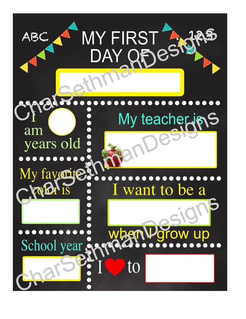Back to school My first day of school Dry Erase Board pictures