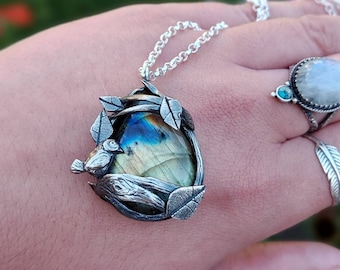 Sterling Silver Labradorite Pendant With Tree And Bird Details, Made with Recycled Silver, Boho/Hippie Jewellery