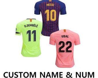 92ba4d286 2019 CUSTOM Barcelona Customizable Soccer Jersey Pants set for Men and Kids