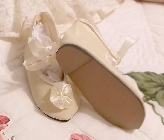 CREAM DOLL SHOES ANTIQUE VICTORIAN OR JUMEAU BRU STYLE WHITE BLACK  3 SIZES