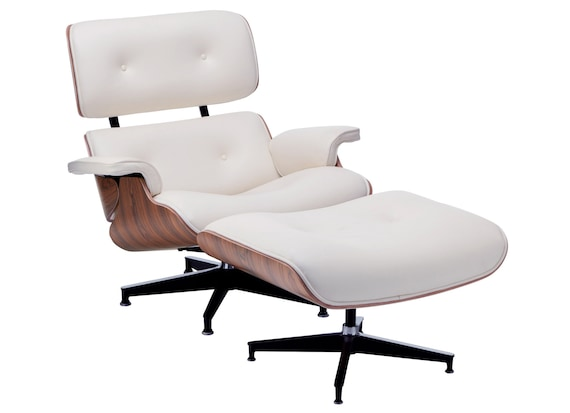 Fantastic Modern Mid Century Classic Palisander Wood Eames Replica White Leather Lounge Chair Ottoman Machost Co Dining Chair Design Ideas Machostcouk