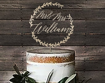 Mr & Mrs Rustic Wreath Cake Toppers For Wedding - Wedding Cake Topper Rustic - Personalized Wedding Cake Topper Name - Cake Topper Birthday