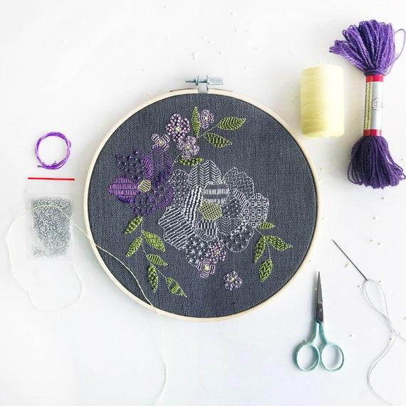Modern Embroidery Kit - Dark Grey Floral