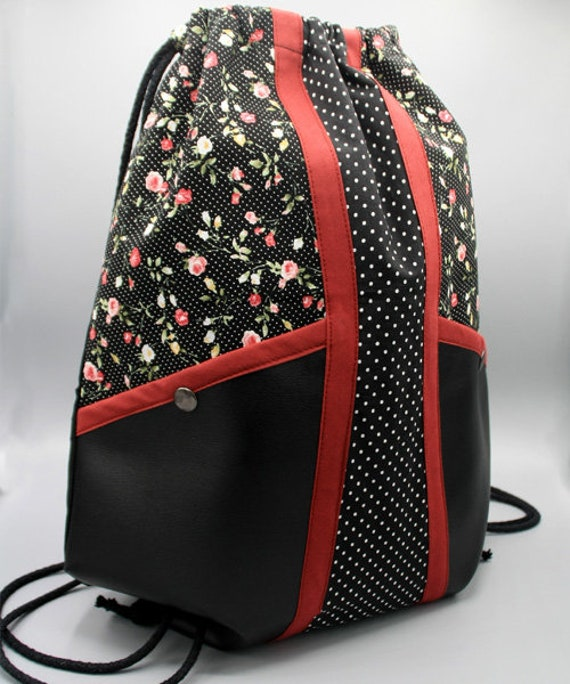 Travel backpack Precious fabric Blue and red patterned fabric Backpack with rope handles Sport backpack Fabric backpack