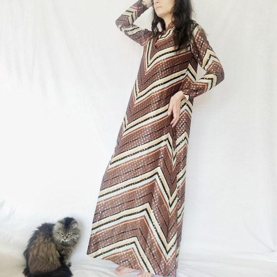 Vintage 1970s Chevron A-line metallic maxi dress