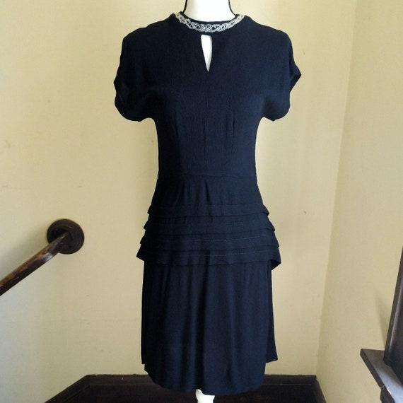 Vintage 1940s black beaded keyhole neck party dres