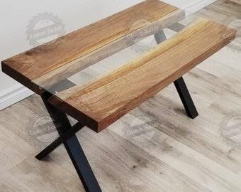 Attirant Live Edge Table, River Table, Wood Slab Table, Glass Table, Coffee River  Table, Steel Legs