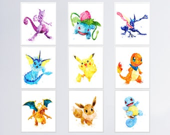 Personalized//Customized Pokemon Name Poster Wall Art Decoration Banner