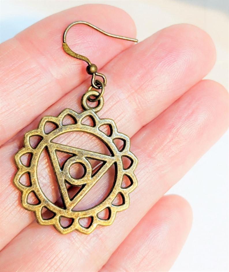 Occult Jewelry Zen Earrings SC2027 Bronze Occult Earrings Talisman Jewelry-  FREE SHIPPING Wicca Jewelry Witchcraft Earrings