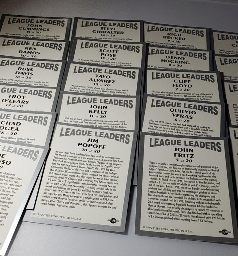 1992-93 Excel League Leaders 20 Card Set