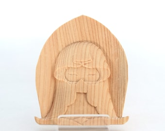 Relief Komari-chan, carryable loving mother statue, hands together, hand made, small bag, virgin mary, kannon, innerpeace, wood, Japan