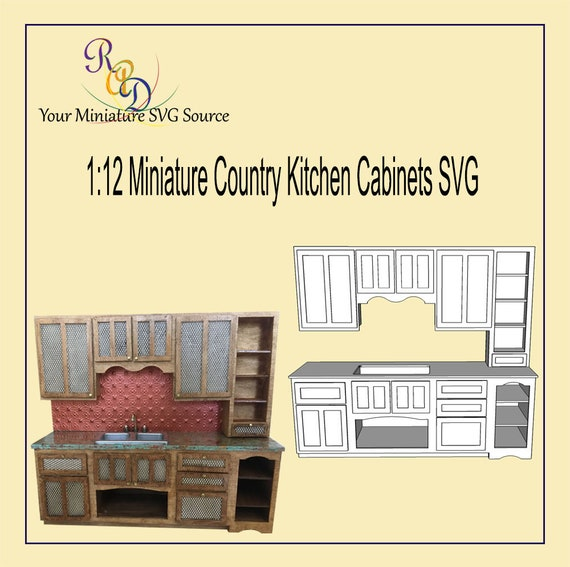 Miniature Country Kitchen Cabinets Svg Etsy
