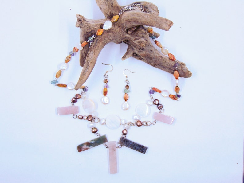 Freshwater Pearl Mabe Pearl Rose Quartz Green Jasper Fluorite and Orange Stone Jewelry Set Mother of Pearl Shell
