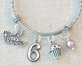 6th BIRTHDAY GIRL BRACELET Birthday Charm Bracelet 6 Year Old Daughter Gift Idea Girls Sixth