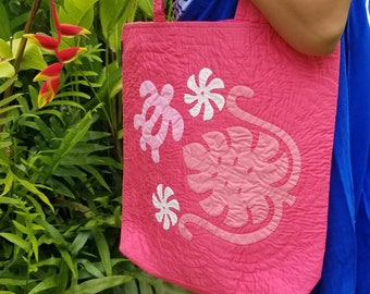 Sea Turtle   Monstera Leaves Hawaiian Quilted Eco-friendly reusable tote bags   Mother's Gift   Christmas Gift