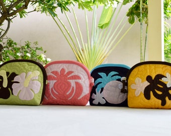 Cosmetic Bag/Day Bag-Hawaiian Quilted