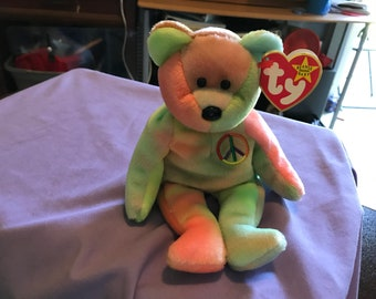 1db678589f6 Peace bear beanie baby