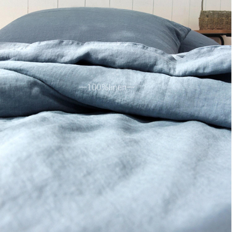 3pcs lin literie ensemble King, Queen, couette couverture ensemble + 2 taies d'oreiller en bleu