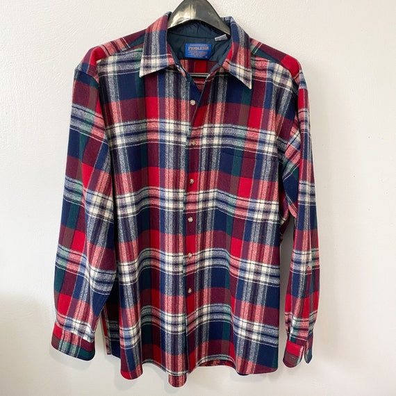 Pendleton Wool Flannel Plaid Long Sleeve Button do