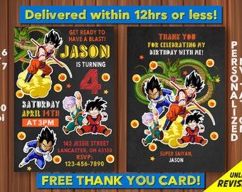 Dragon Ball Z Birthday Invitation FREE Thank You Card Digital Balls Invite