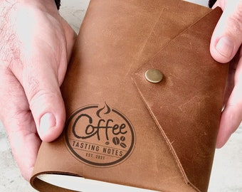 Coffee Tasting Journal, Leather Coffee Notebook, Personalised Coffee Gift, Coffee Drinker Gift, Coffee Addict, Coffee Diary Refillable