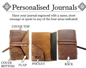 Personalised Custom Engraved Leather Wrap Handmade Monogram Journal, Personalized Mindfulness Writers Bookworm Gift