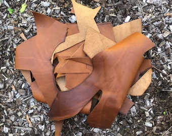 Australian Leather Offcuts, Leather Remnants, Leather Scraps, Tan Leather, Cow Leather Offcuts