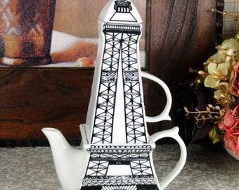 Unique Charming Vintage Miniature Paris Eiffel Tower Art Ceramic 3D Coffee Tea Teapot Cup Assembly Set