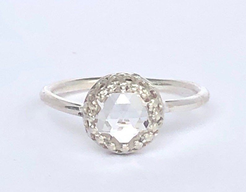 Sterling Silver Engagement Ring Affordable Engagement Ring Rose Cut Ring, Double Rose Cut Cubic Zirconia Engagement Ring