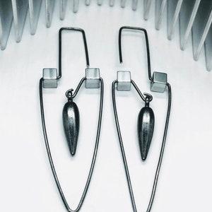 Handmade Wire Earrings Statement Earrings Large Sterling Silver Hoops Beaded Hoop Threader Arc Brutalist Art Deco On Trend Earrings