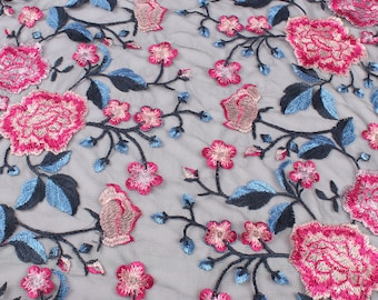 49 Width Prom Gown Bridal Fashion Sweet Peony Floral Lace Dress Fabric TEAL