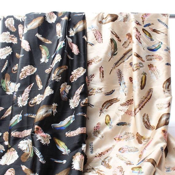1 Yard Stretch Satin Feathers Pattern Elastic Imitate Silk Dressing