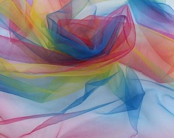 Multicolor Rainbow Net Yarn Fabric soft Tulle Fabric Children Tutu Skirt Dancer DIY Decor 150cm by Yard