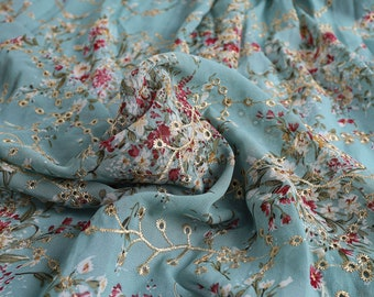 Eyelet Embroidery Chiffon Fabric Floral Printing Dress Making 150cm Wide, Sold By The Yard