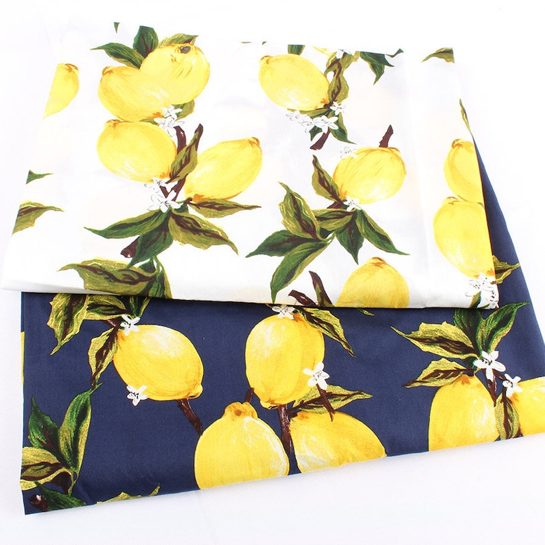 100% cotton fabric  Lemon Printed Poplin for women children image 0
