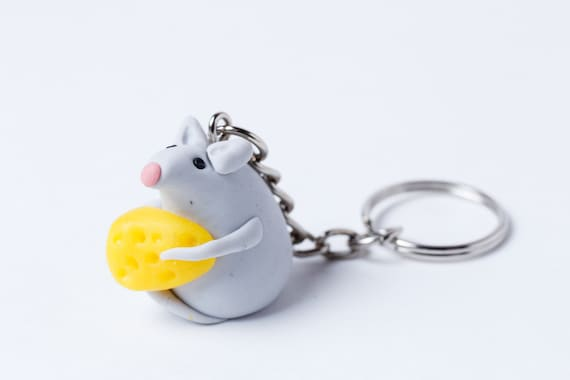 Cute pink polymer clay rat keychain Handbag rat charmTiny mouse gift for rat lovers Handbag rat charm Mom/'s gift mother/'s day gift