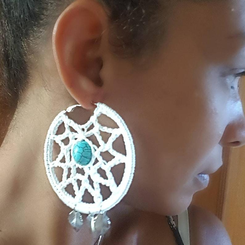 Dreamcatcher crochet hooks earrings with beads