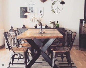 Farmhouse Solid Wood Dining Table, Kitchen Table with Steel Legs